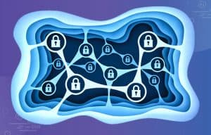 Illustration of security icons connected together