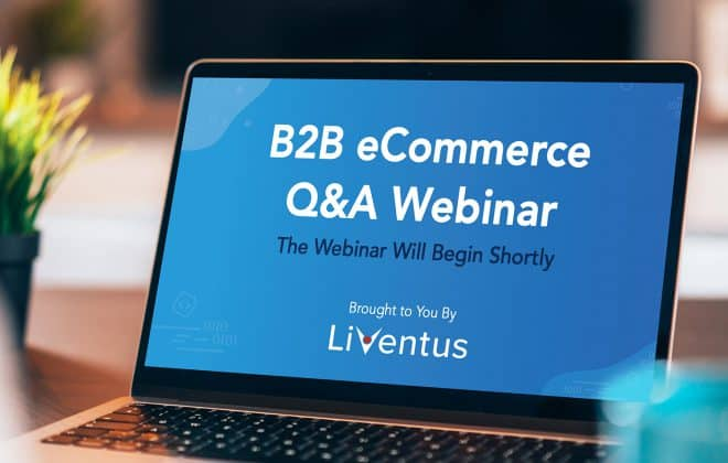 Liventus eCommerce webinar displayed on a laptop device