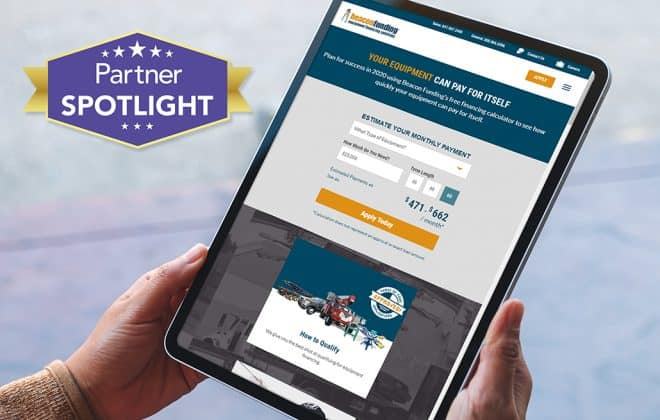 A tablet user looks at Beacon Funding's website, featured as a partner spotlight.