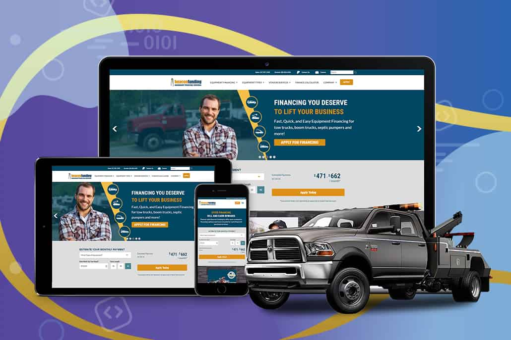 Beacon Funding's website features their tow truck equipment financing.