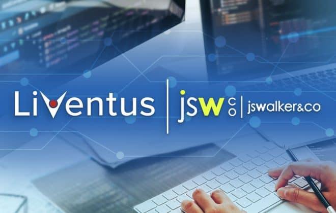 Liventus logo and JS Walker & Co. logo with a computer background