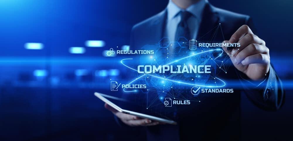 Compliance. Regulation. Standard. Rule. Business internet technology concept.